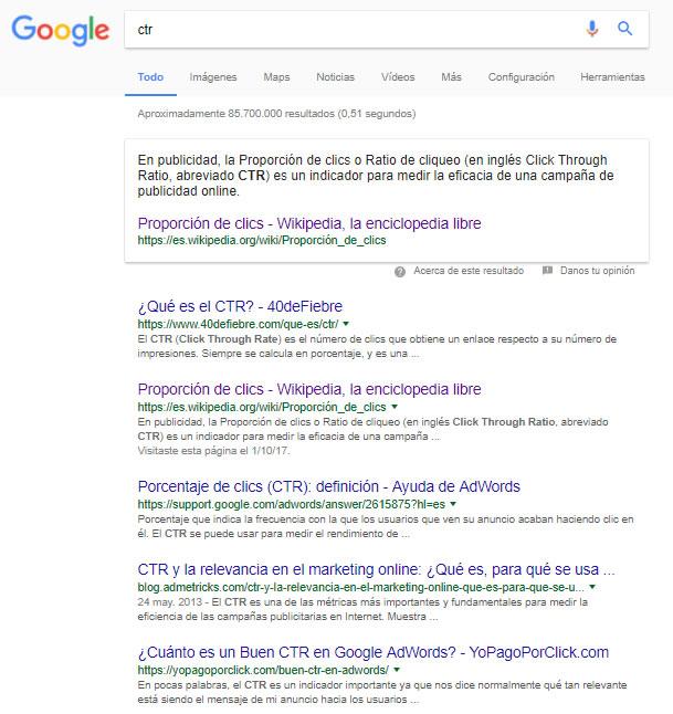 tips para mejorar el CTR: descripciones en Google