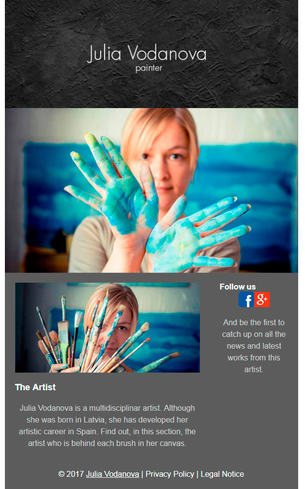 email template: art and entertainment