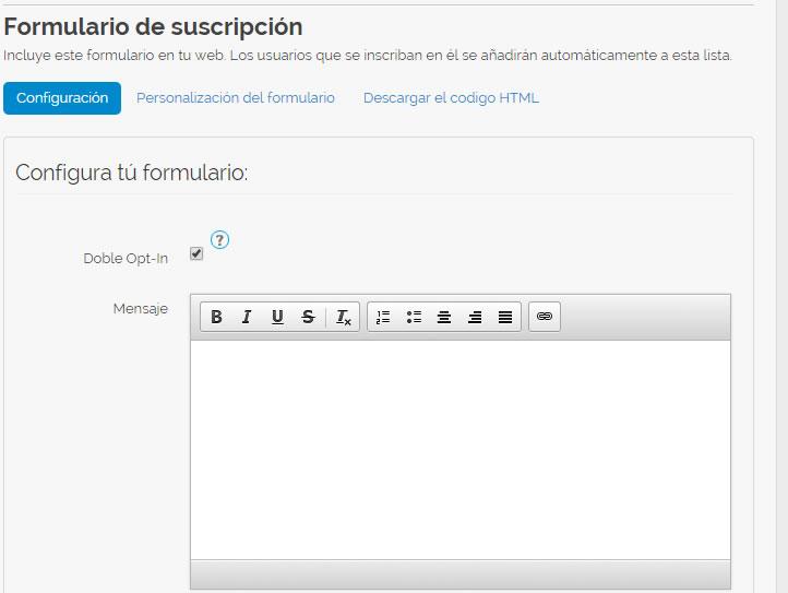 crear un formulario de suscripción con MDirector