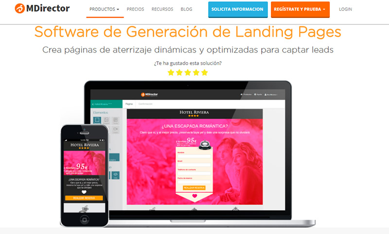 herramientas complementarias para email marketing: MDirector Landing Optimizer