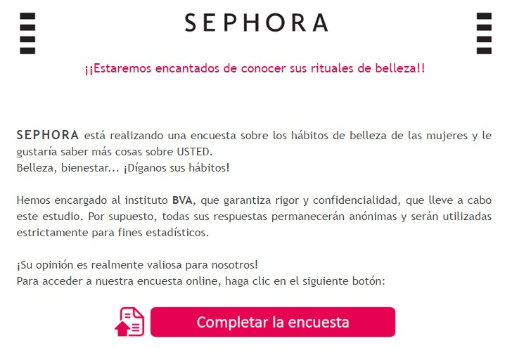 obiettivi con il marketing e-mail sephora