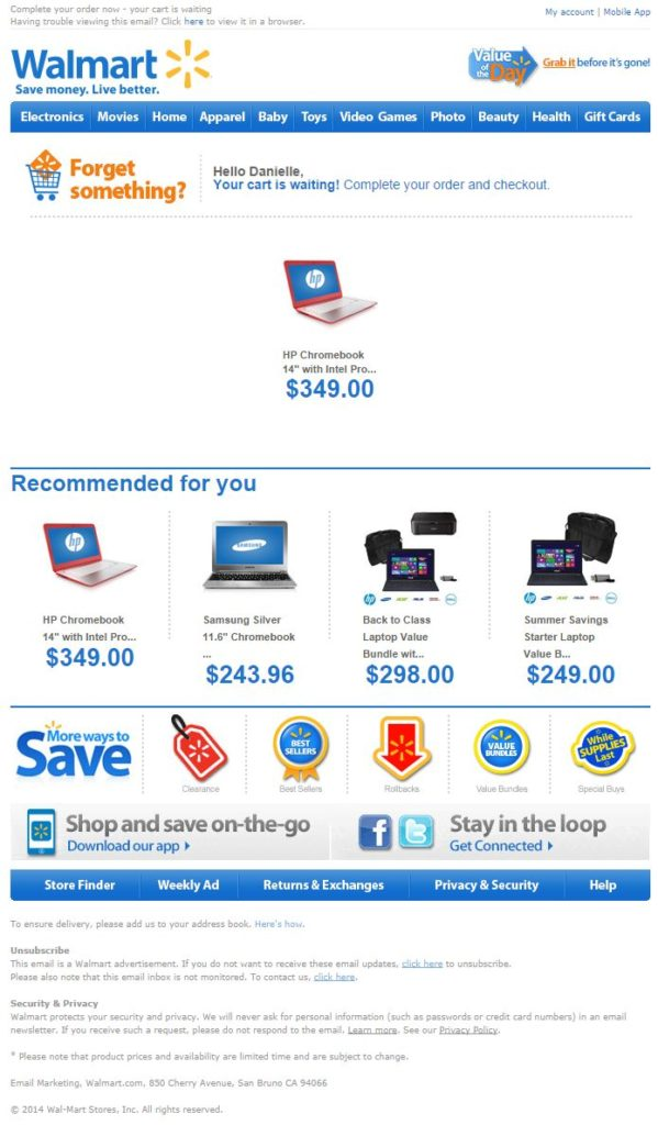 ecommerce que lo hacen bien en email marketing: WalMart