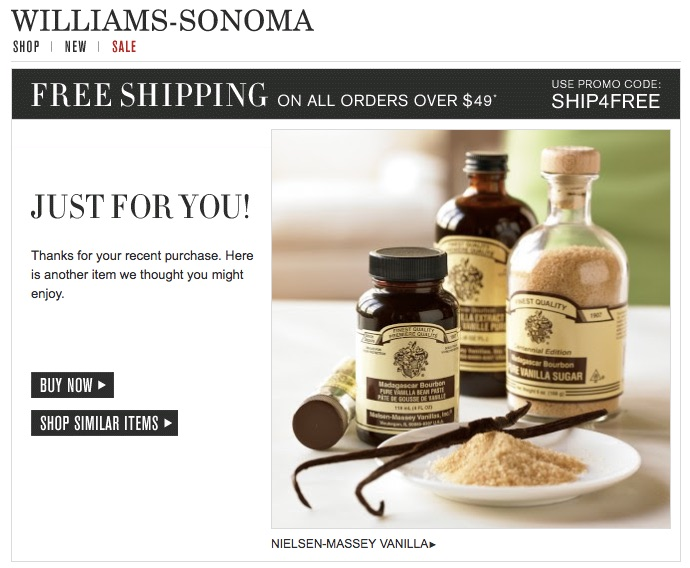 ecommerce que lo hacen bien en email marketing: Williams Sonoma