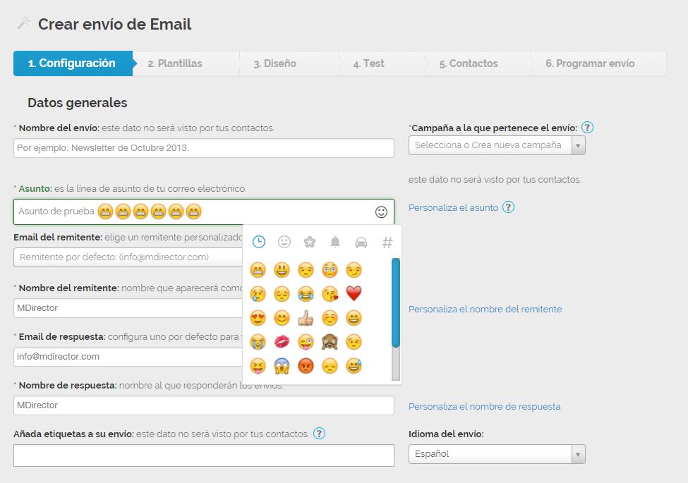 emojis en el asunto del email con MDirector