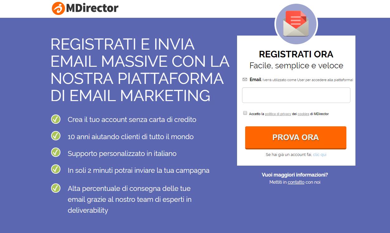 campagne con landing pages di successo: MDirector