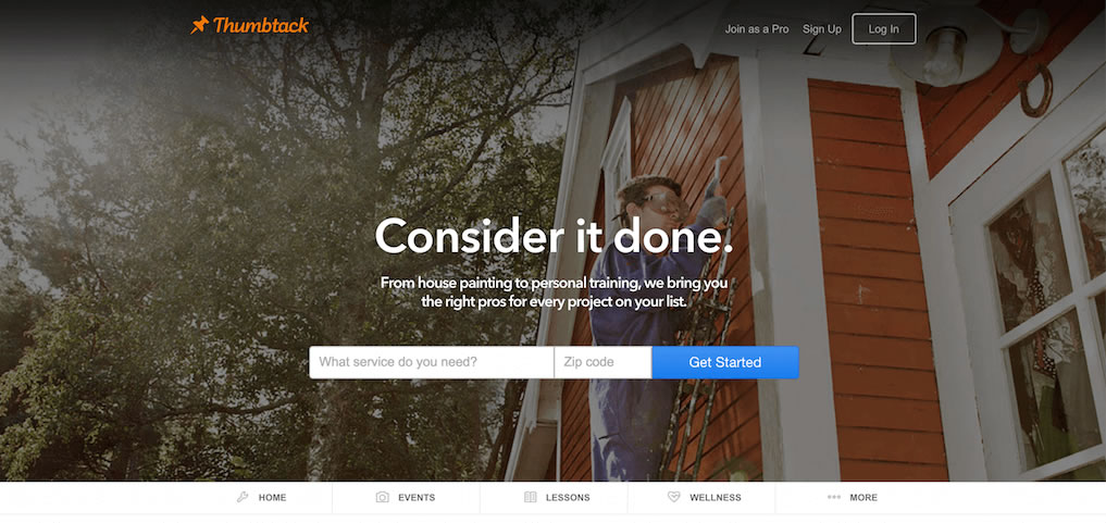 campagne con landing pages di successo: Thumbtack