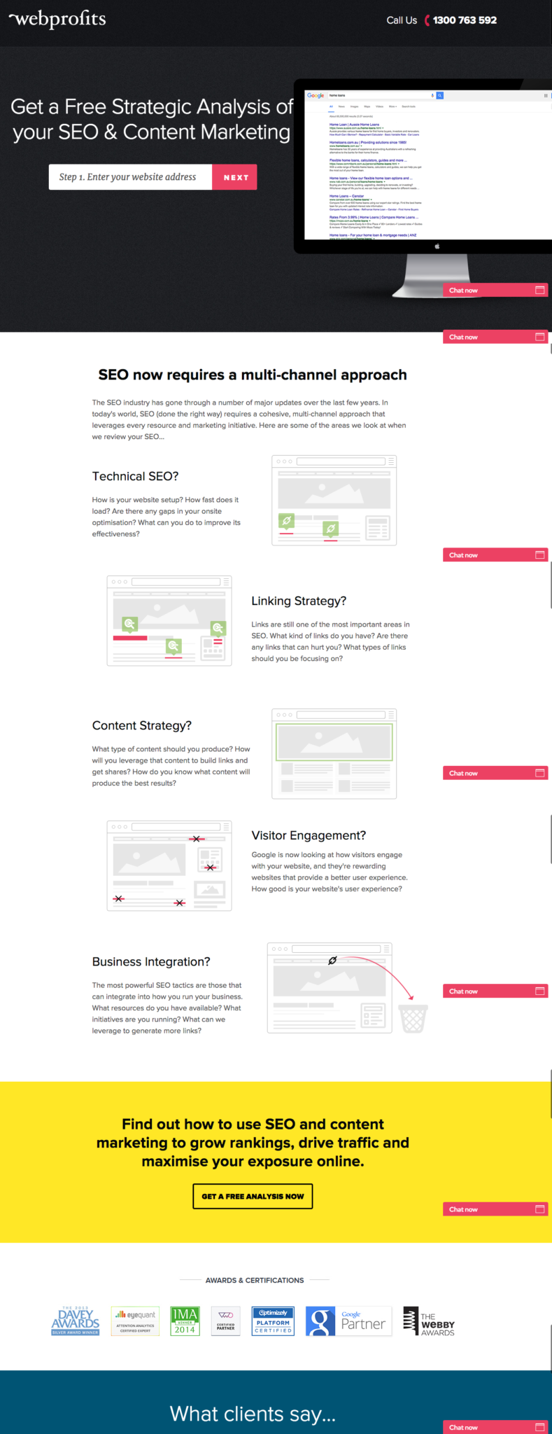 campagne con landing pages di successo: Webprofits