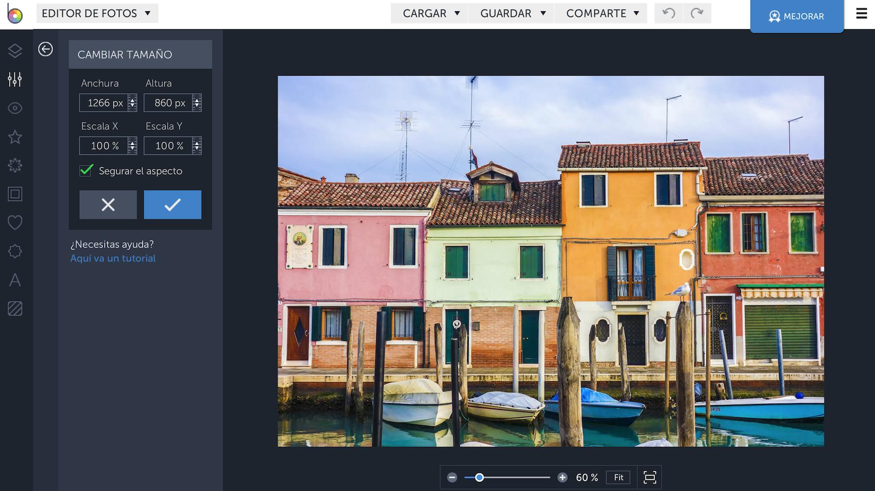 herramientas para reducir imágenes: BeFunky
