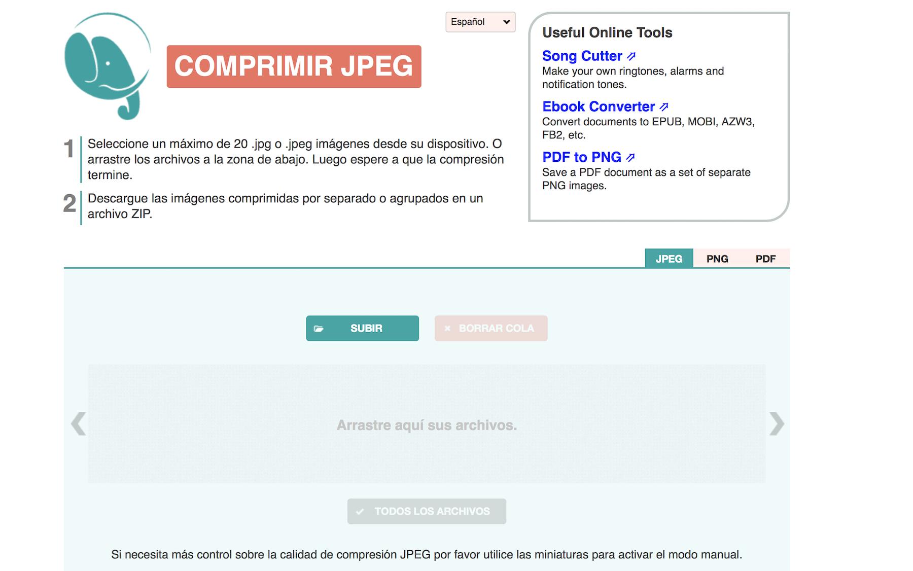 herramientas para reducir imágenes: Compress JPG