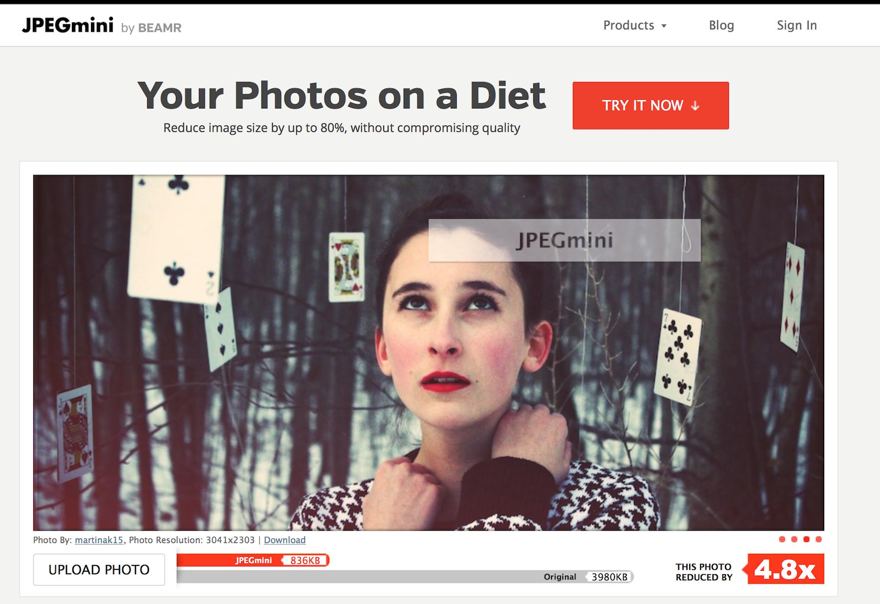 herramientas para reducir imágenes: JPGmini