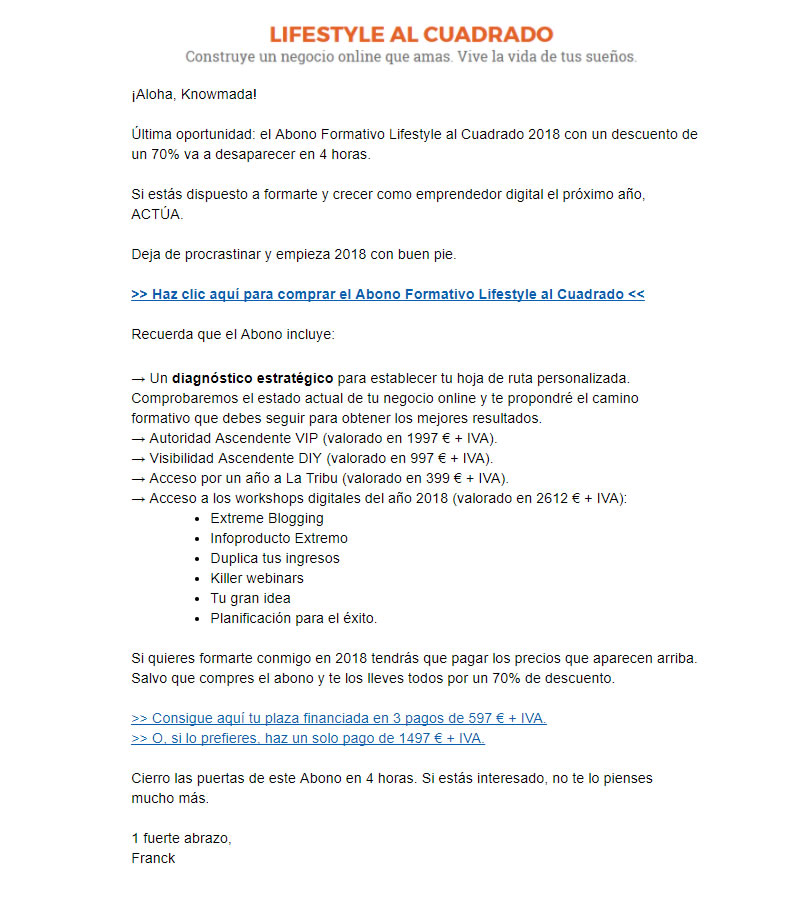 email recordatorio