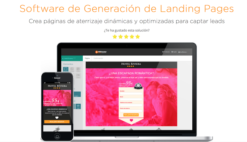 software landing pages MDirector