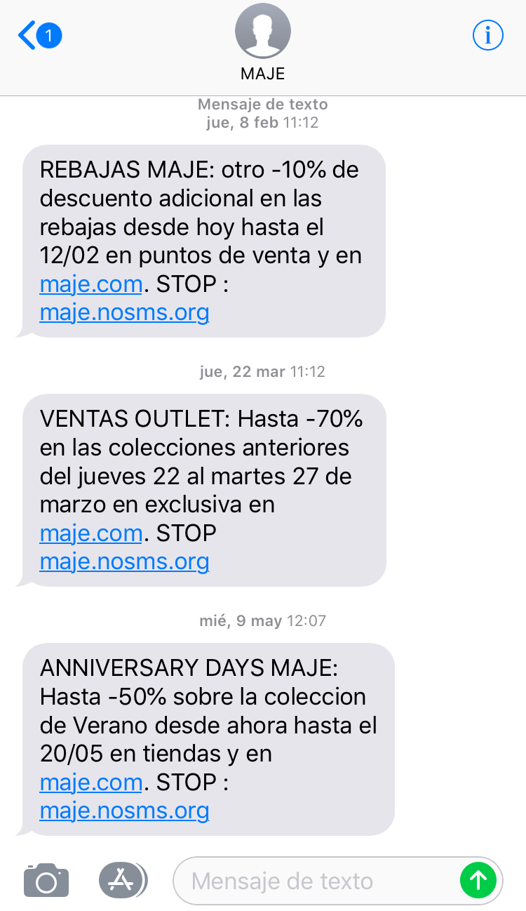 SMS Marketing ejemplo 3