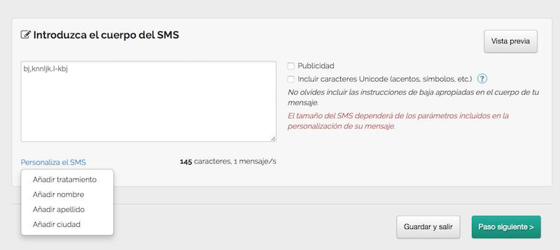 cuerpo del SMS