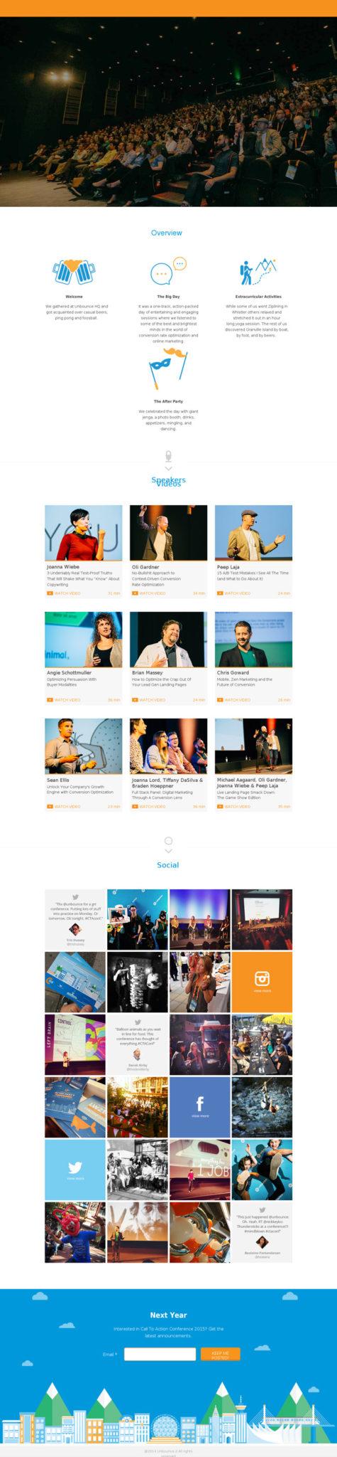 landing pages para promoción de eventos después