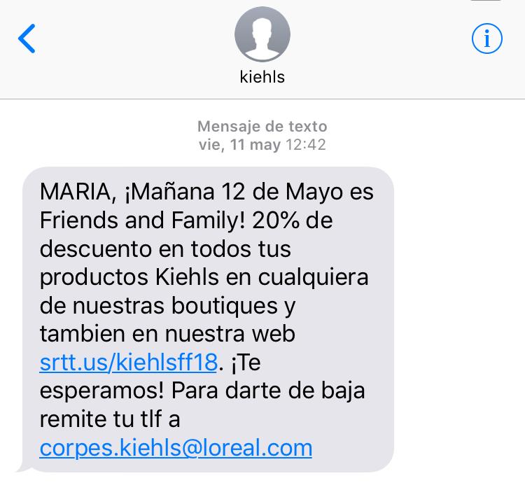 ejemplo campaña SMS