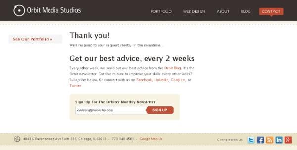 páginas de gracias con newsletter