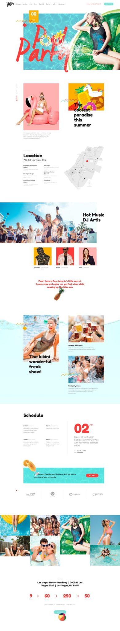 El verano no lleva ni dos semanas con nosotros y las marcas ya han empezado a cambiar sus diseños para lanzar landing pages refrescantes Summer pool party