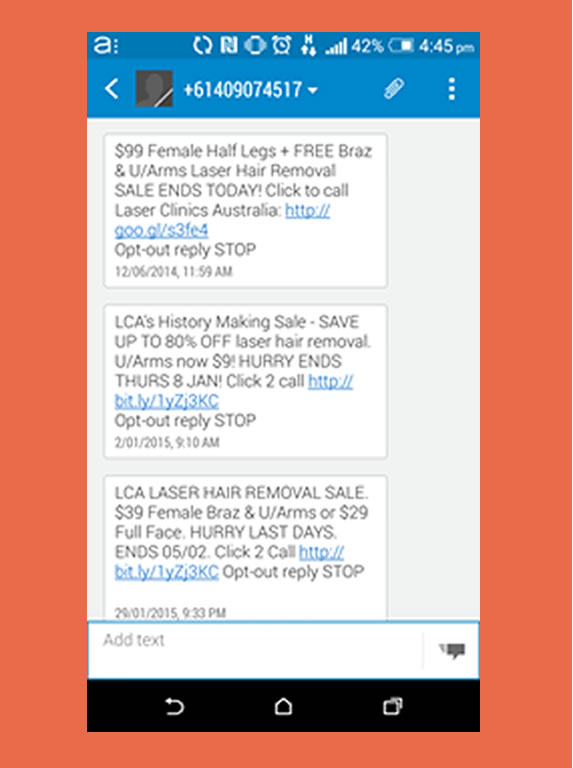 sms de laser clinics