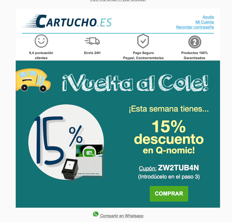 ejemplo email promocional