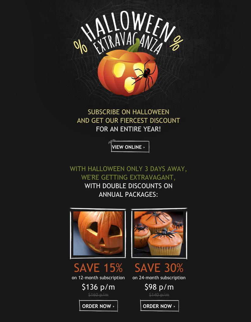 Newsletters para vender más en otoño: Halloween