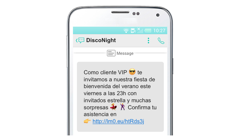 evento SMS marketing en el sector del ocio