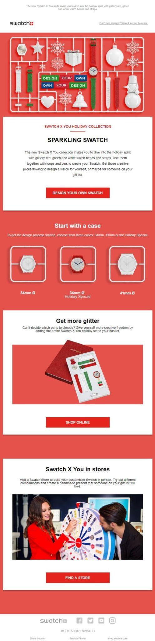 swatch newsletter perfectas para navidad