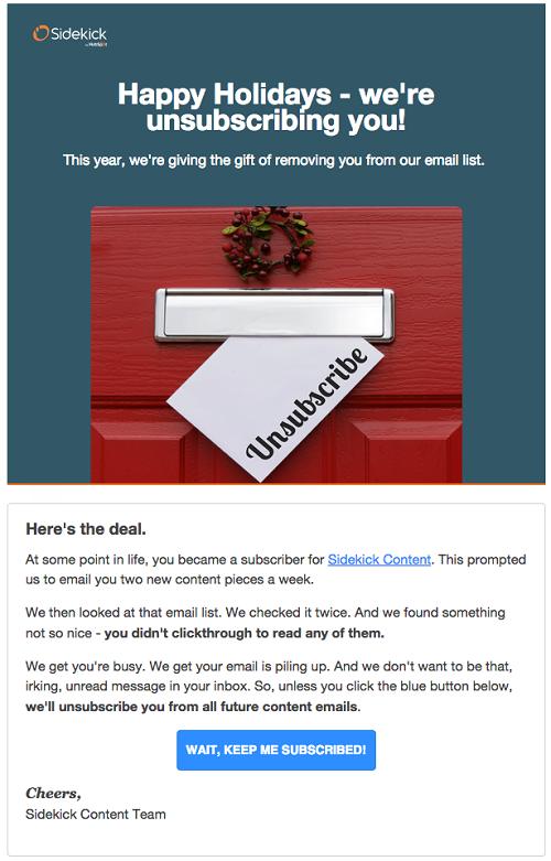 email de limpieza de la base de datos