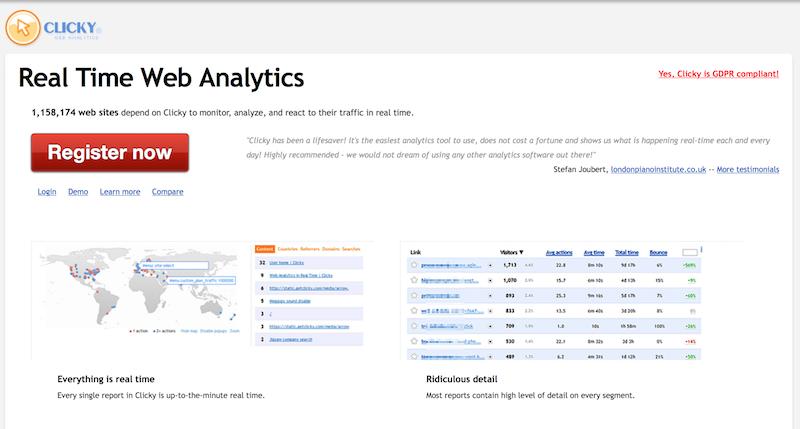 herramientas de analítica web Clicky