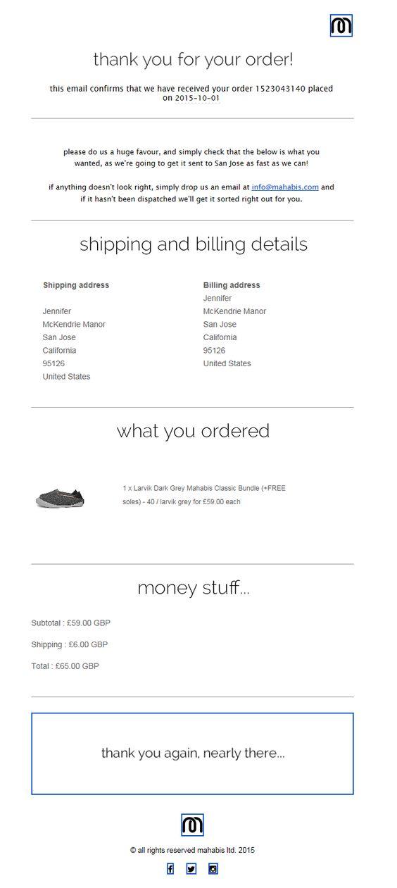 agradecimiento Emails post compra