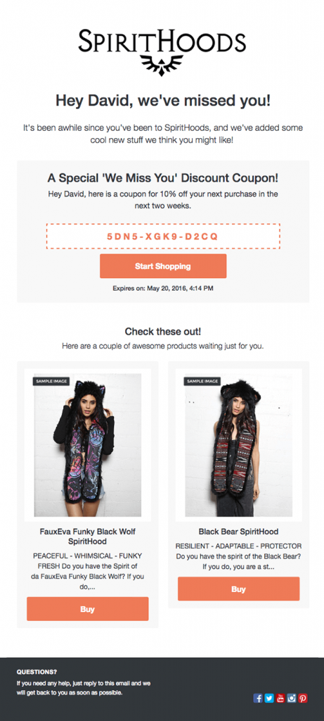 Emails post compra cross selling