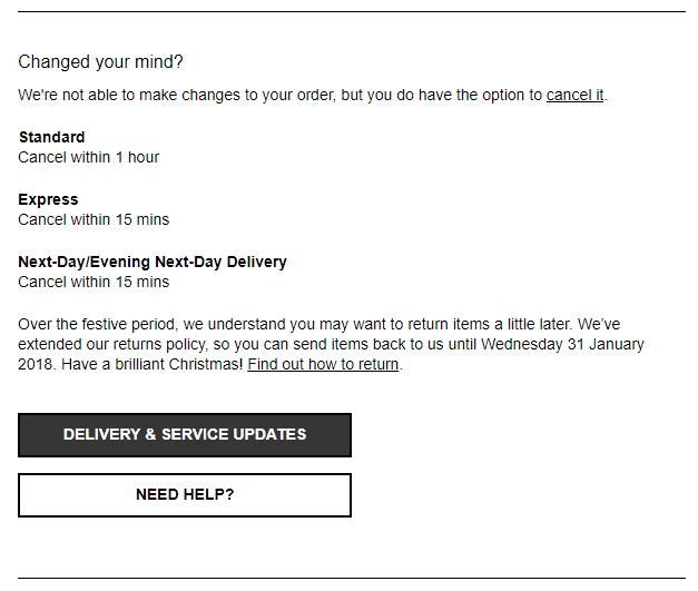 devoluciones Emails post compra