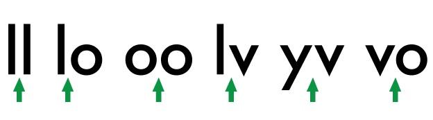 relación espacial entre letras