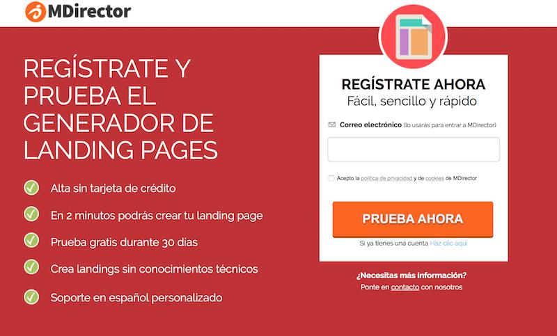 software para crear páginas de registro. MDirector