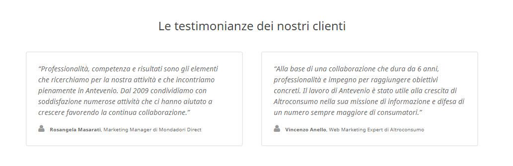 testimonianze dei nostri clienti