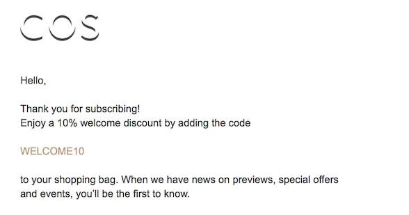 COS email de bienvenida