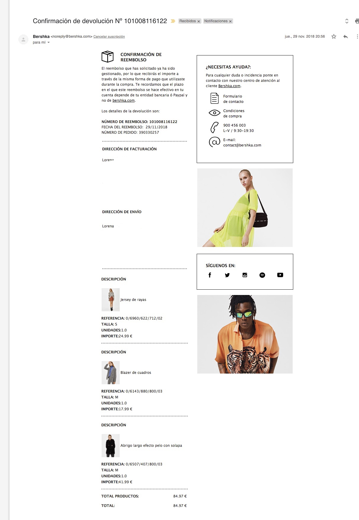 gestionar devoluciones con Email Marketing bershka