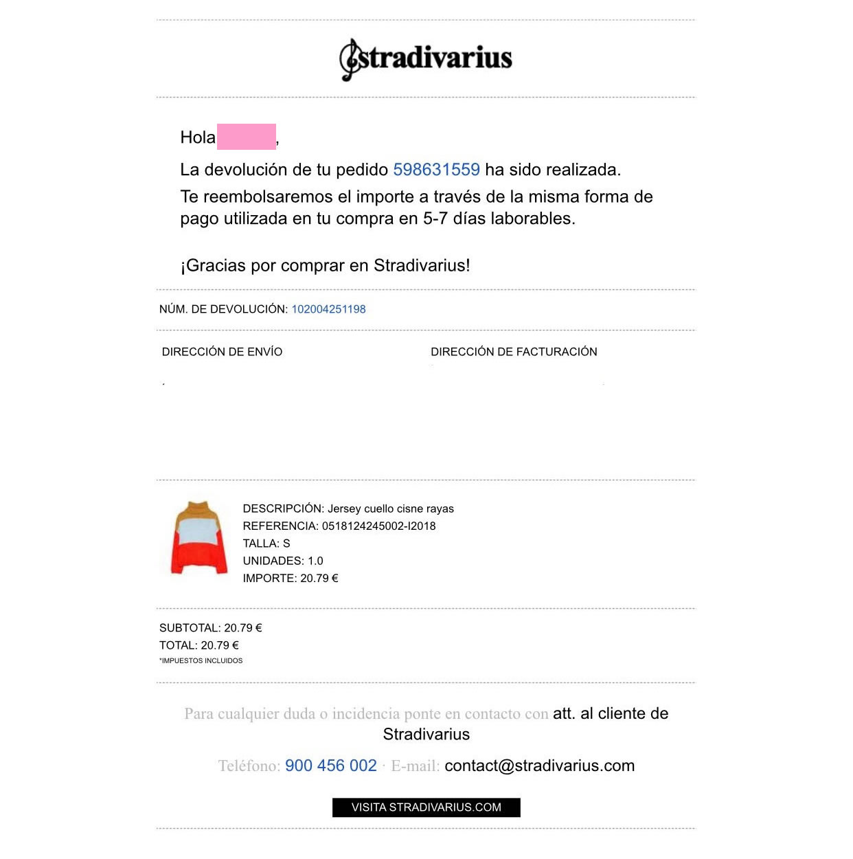 gestionar devoluciones con Email Marketing: Stradivarius