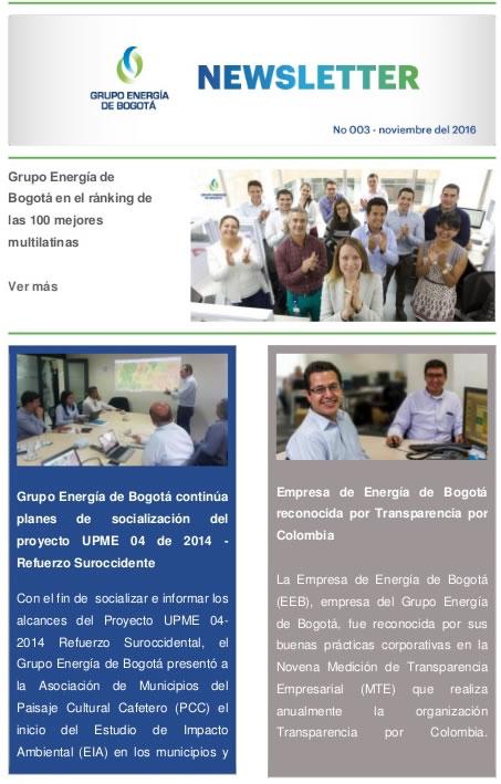 empresas de Colombia que lo están haciendo bien en email marketing: Grupo Energía de Bogotá