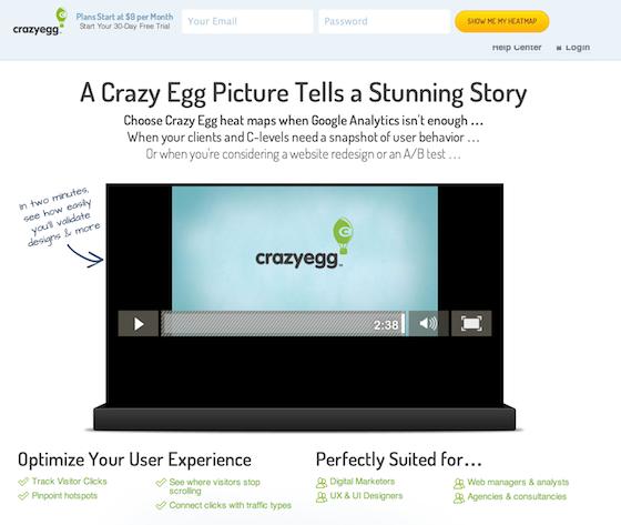 video landing page crazyegg