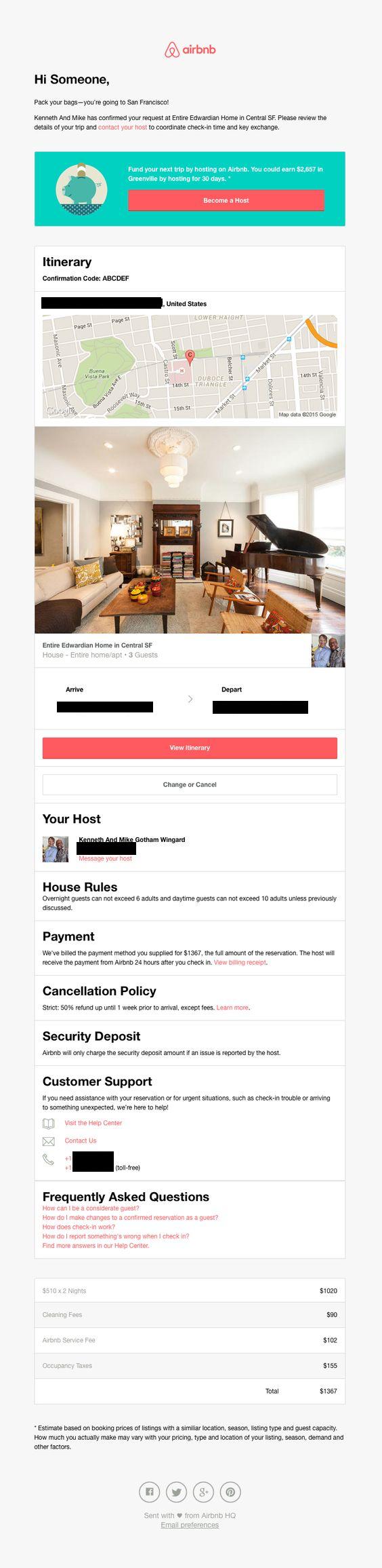 email transaccionales efectivos airbnb