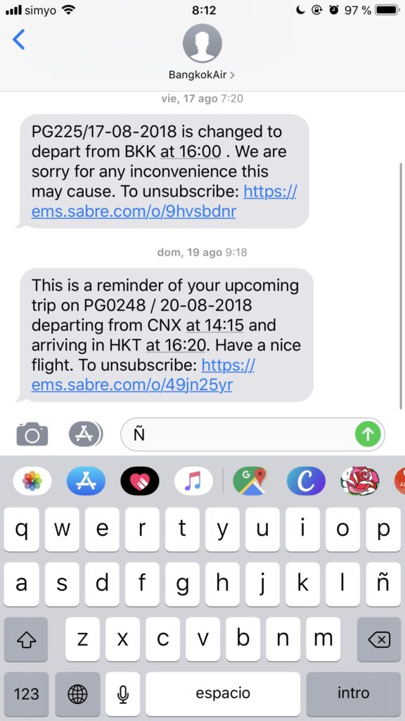 SMS marketing para el sector viajes cambio de hora