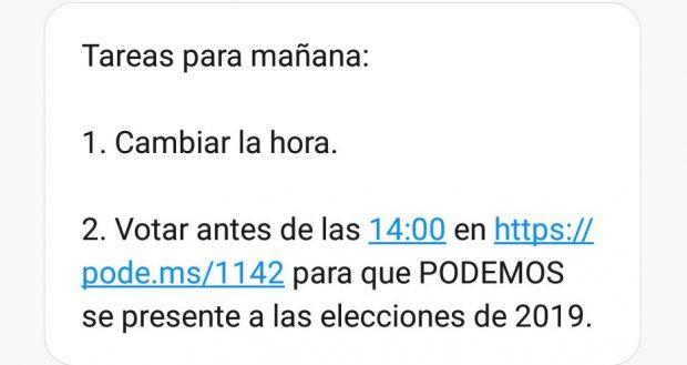 SMS marketing y política en Podemos