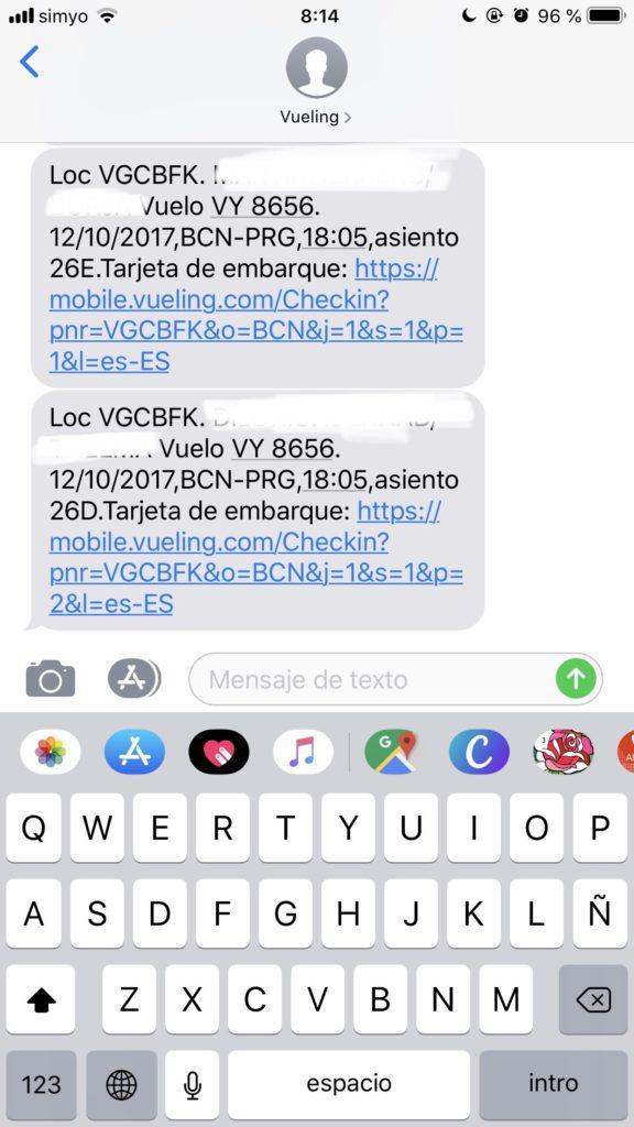 SMS marketing para el sector viajes tarjeta de embarque