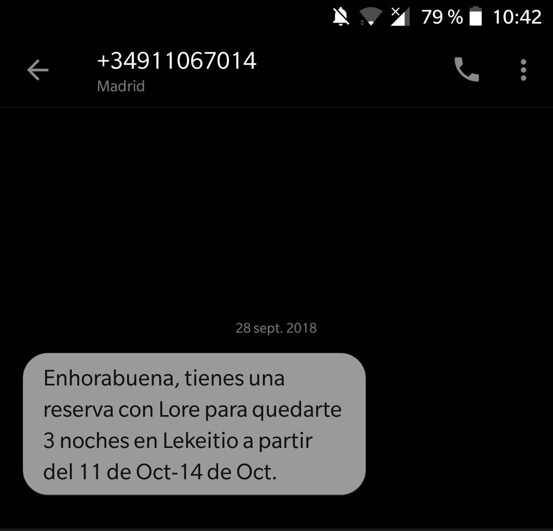 sms de confirmación de reserva