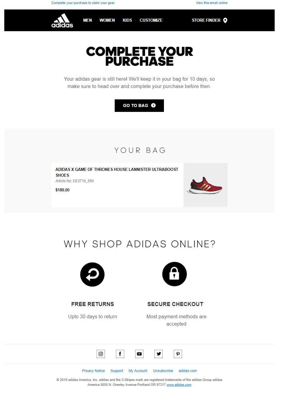 Adidas email marketing