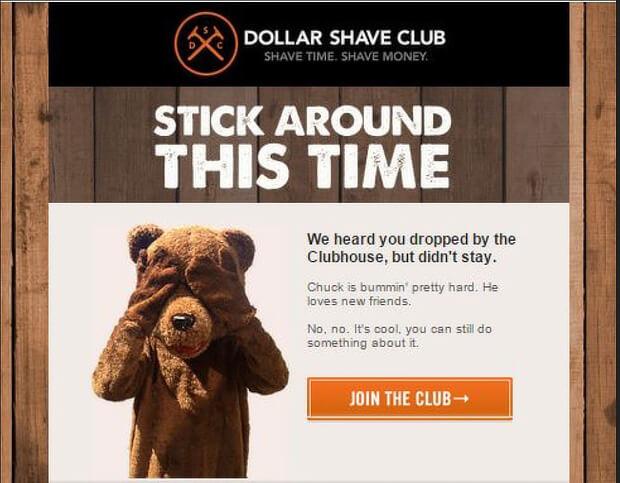 emails sobre carritos de compra abandonados: Dollar Shave Club