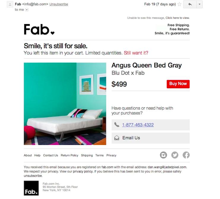 emails sobre carritos de compra abandonados: Fab