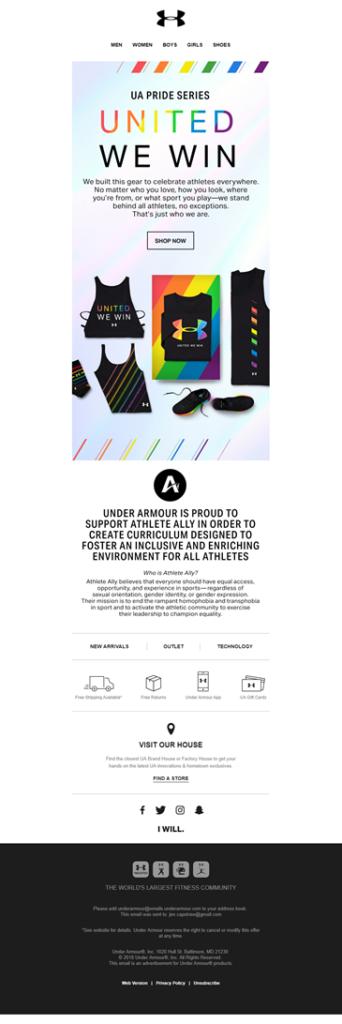 campañas de email marketing para el Orgullo Gay: Under Armour