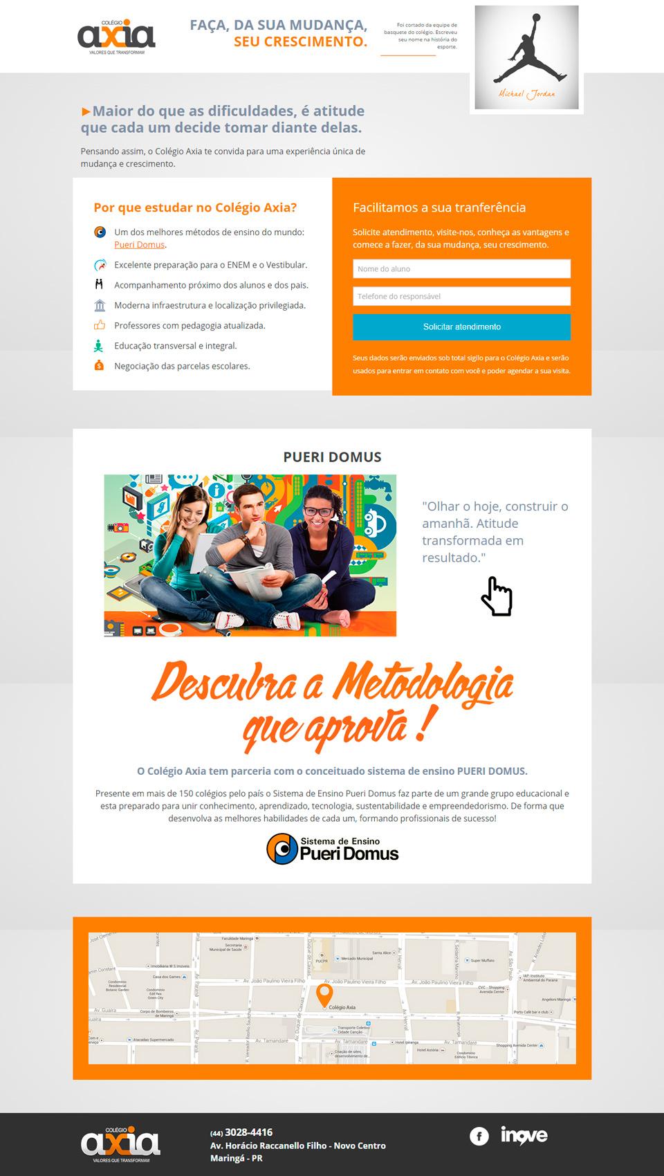 Landing page Colegio Axia